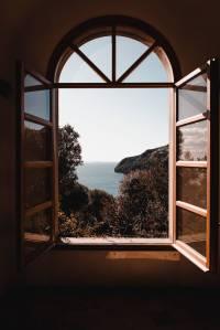 opened glass window